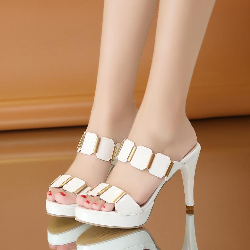 時尚夏季女高跟涼拖魚嘴一字拖白涼鞋黑色試衣鞋高跟拖鞋細跟韓版
