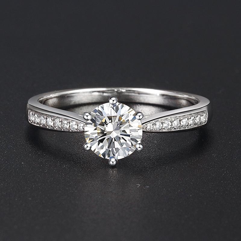 18新款店铺保修K白金1克拉培育钻石结婚环情侣对戒指 空托定制