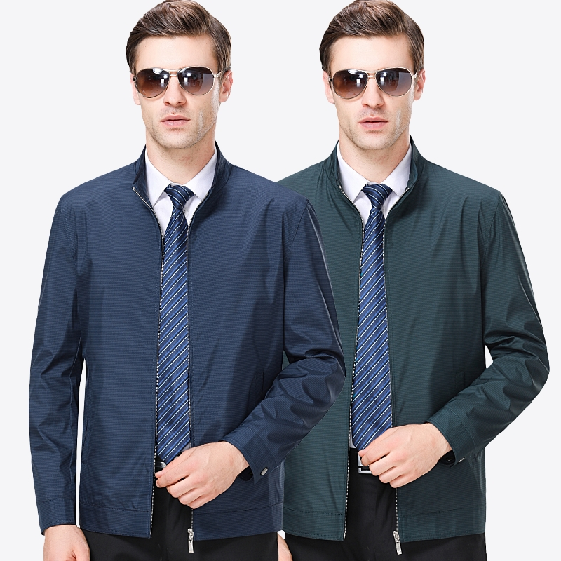 Middle aged and old mens standing collar jacket solid color loose business leisure fathers coat spring and Autumn Age 4050