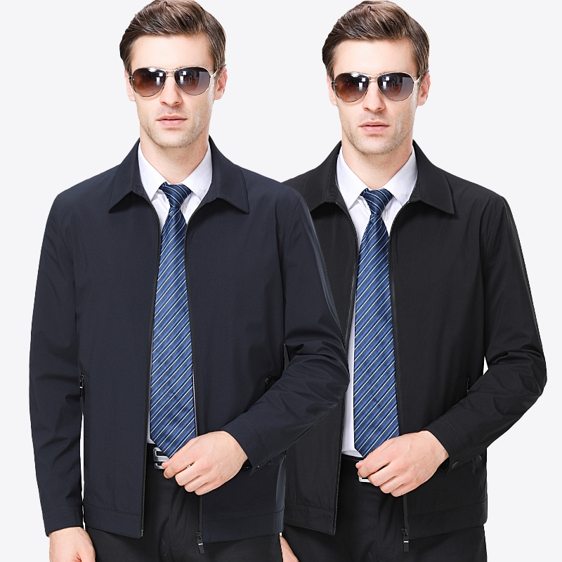 Middle aged and old mens coat spring and autumn jacket business leisure old mans summer thin loose jacket