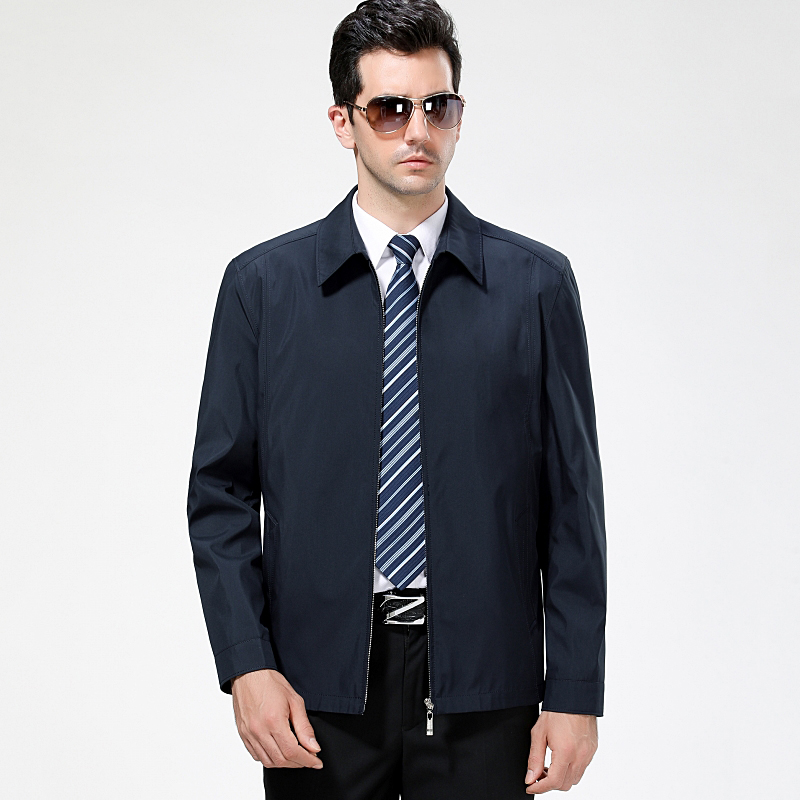 Middle aged and old new mens business and leisure jacket spring and autumn coat daddys long sleeve Lapel thin top solid color