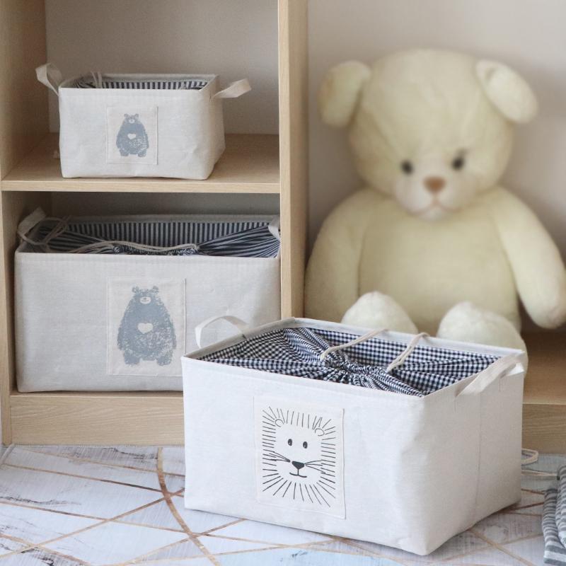 棉麻衣物衣服收纳箱布艺折叠衣柜束口收纳筐盒大号玩具整理储物箱 Изображение 1