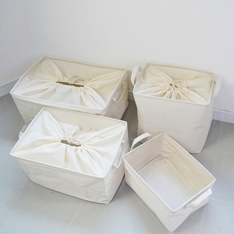 棉麻布艺可折叠衣柜收纳箱大号衣服衣物束口收纳筐玩具整理储物箱 Изображение 1