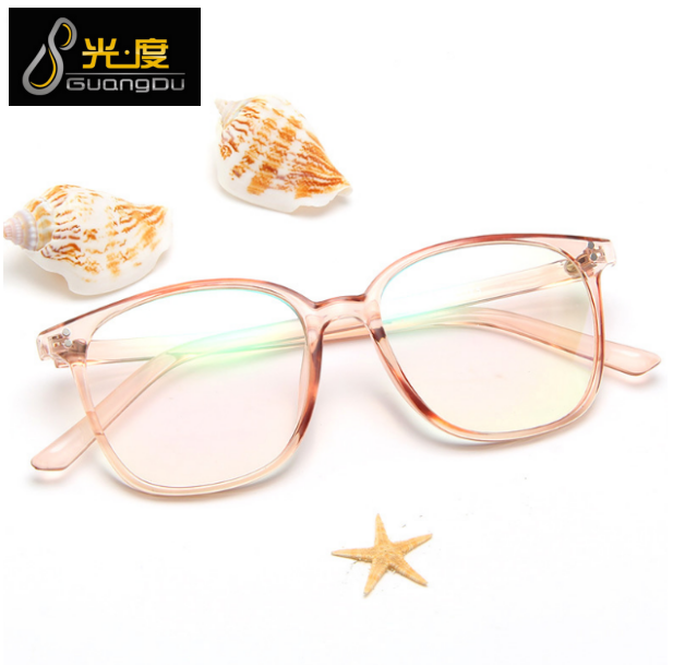 Eyeglass frame can be equipped with lenses, short-sighted large frame, transparent jelly, rice nail, square flat lens, brown spectacle frame