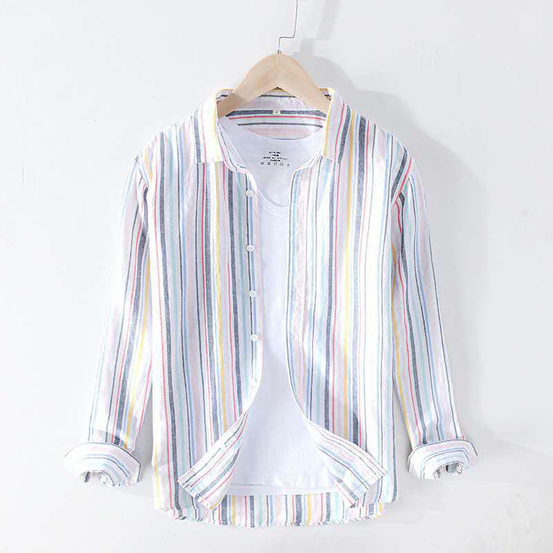 Fresh color matching long sleeve Linen Shirt Mens summer short sleeve fashion large casual stripe loose cotton linen shirt