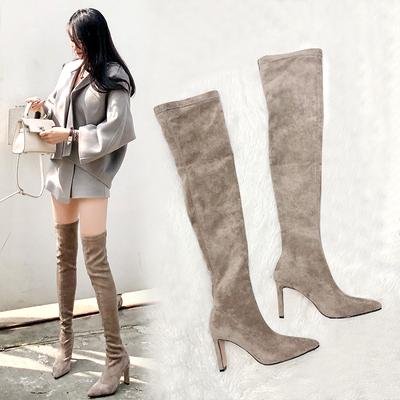 靴子女2019秋款長靴過膝冬天高筒靴卡其色大碼高跟尖頭瘦瘦長筒靴