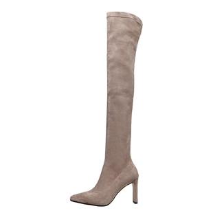 靴子女2020新款長靴過膝超長高筒靴卡其色大碼高跟尖頭瘦瘦長筒靴