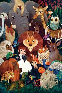 300/500/1000片木質拼圖大型成年人減壓兒童益智玩具女孩與動物