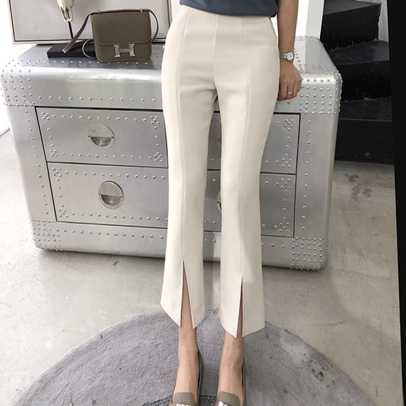 Suit pants womens summer 2019 Korean high waist slim quarter pants micro trumpet split off Beige casual wide leg pants