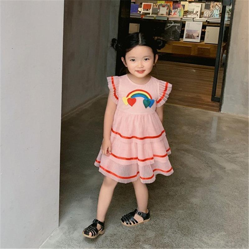 五折促销女童夏装连衣裙超洋气蓬蓬纱公主裙儿童装小女孩宝宝粉色蛋糕裙子