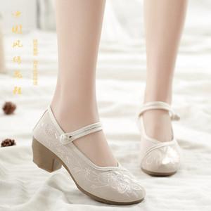 新款女汉服鞋绣花布鞋软底高跟配旗袍鞋古风鞋子增高民族风女