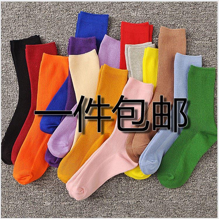 袜子女薄款堆堆袜中筒棉夏季韩版学院风日系韩国百搭紫色潮长袜。