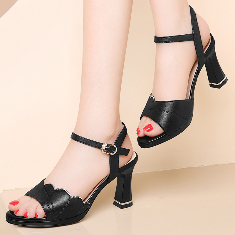 Leather sandals womens thick heeled 2021 summer one-piece wear comfortable wear-resistant high heels fish mouth womens shoes