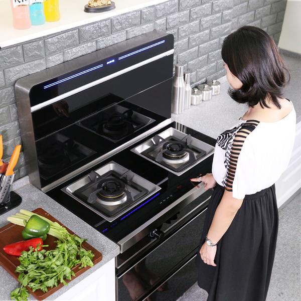 双电机集成环保灶侧吸下排一体无烟定时自动清洗定制电磁炉灶