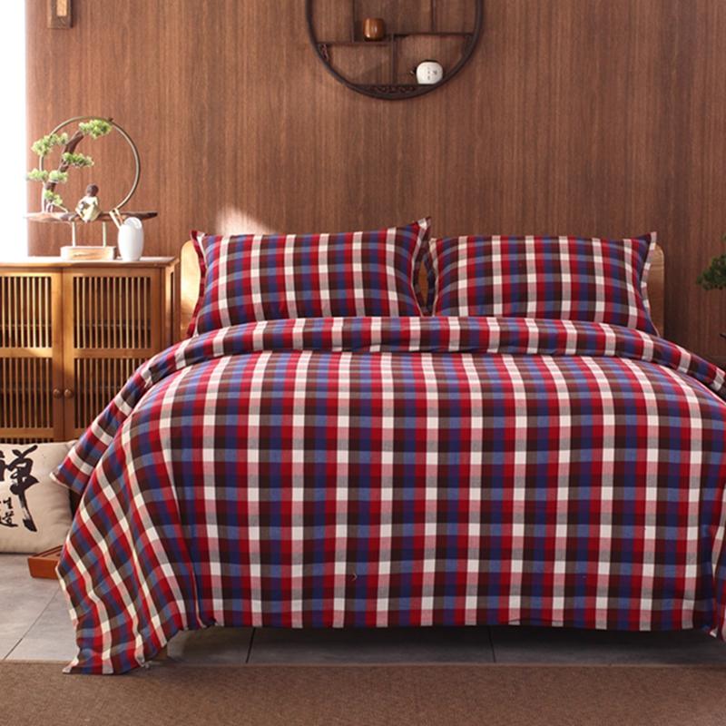 老粗布四件套全棉纯棉1.5m1.8米床上学生宿舍床单被套1.2三件套厚