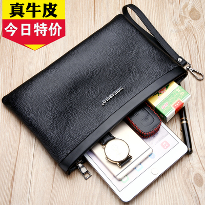[First layer cowhide] Men's handbag leather large capacity clutch soft cowhide envelope bag casual clutch bag male