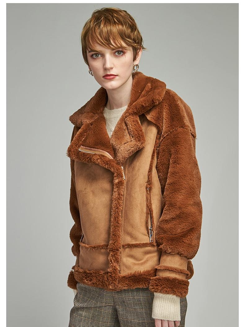 2021 genuine egger winter fur one warm fashion Lamb Fur suede double short jacket in stock