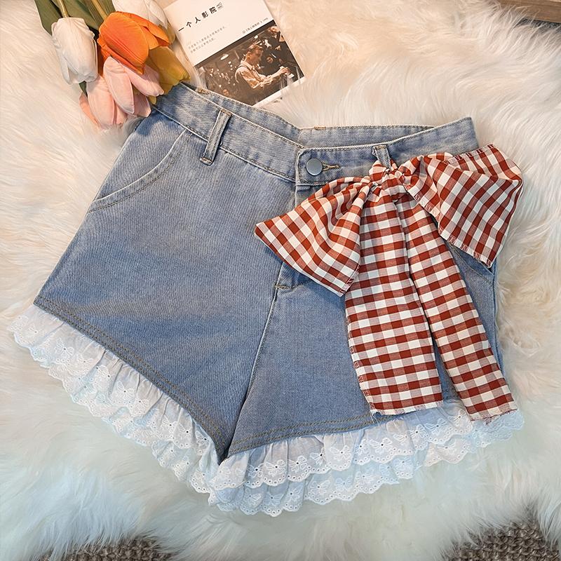 牛仔阔腿超可爱短裤女夏季高腰蕾丝花边系裤子显瘦腿长热裤宽松