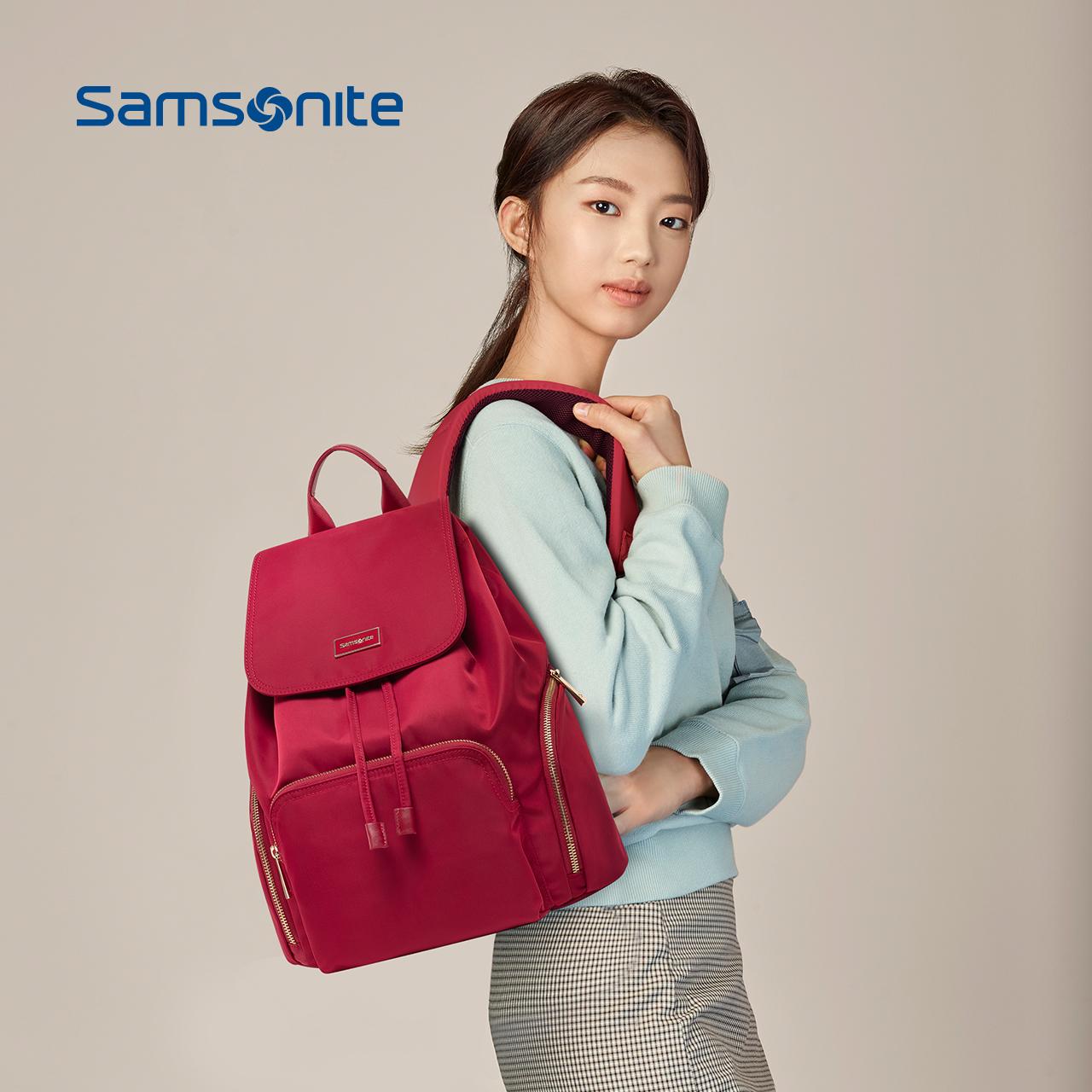 Samsonite/新秀丽2019新款双肩包女小包 尼龙时尚韩版高中书包TQ4图片