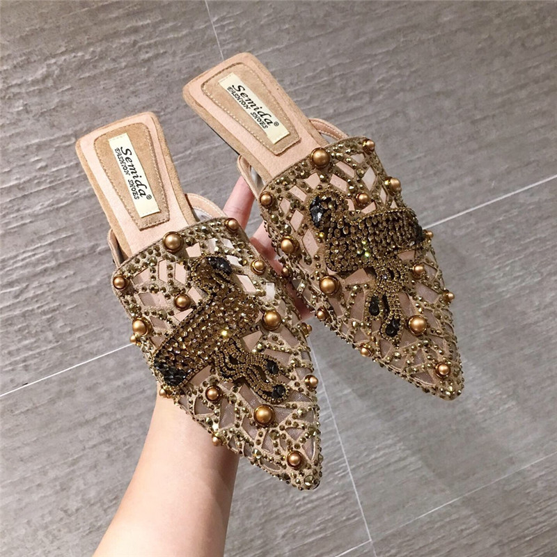 包头半拖鞋女外穿尖头半托女鞋2019新款时尚穆勒鞋网红凉拖鞋女潮