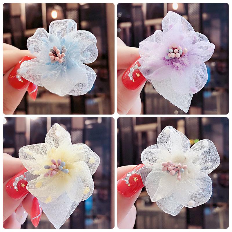 五瓣花雪纺花朵韩版儿童发卡夹发夹满3.20元可用0.4元优惠券