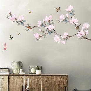 飾品貼畫 中國風粉色桃花自粘墻貼客廳臥室小清新房間書房背景墻裝