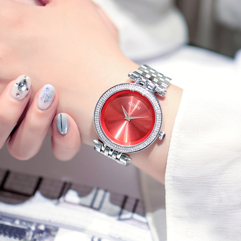 Guou new womens watch fashion simple boutique diamond inlaid large dial student silver chain wristwatch quartz watch