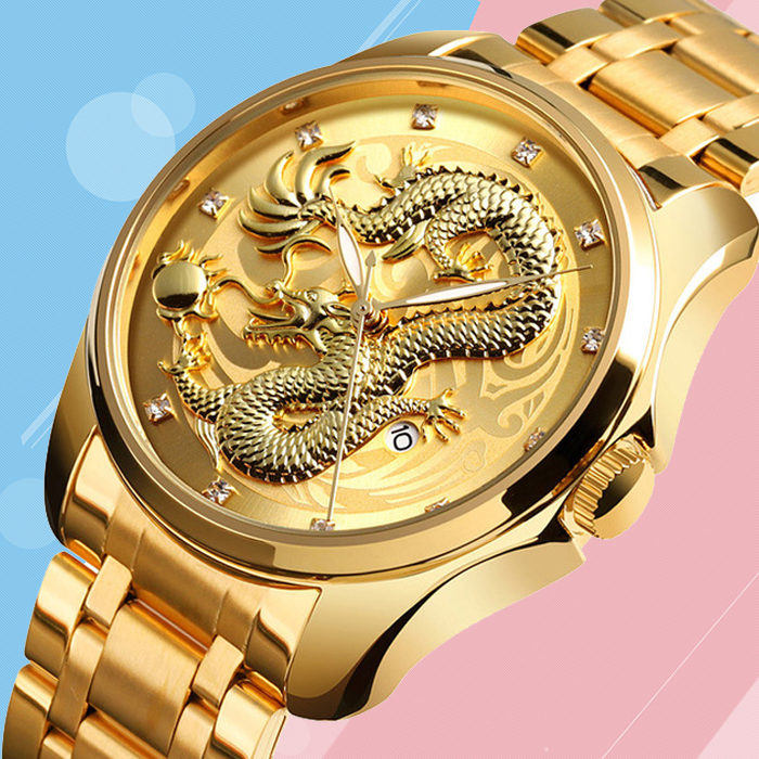 Time beauty new Chinese style embossed Golden Dragon mens watch business leisure calendar student waterproof steel band Watch