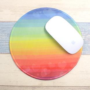 防水布面手绘彩虹love鼠标垫锁边创意加厚办公游戏个性圆形