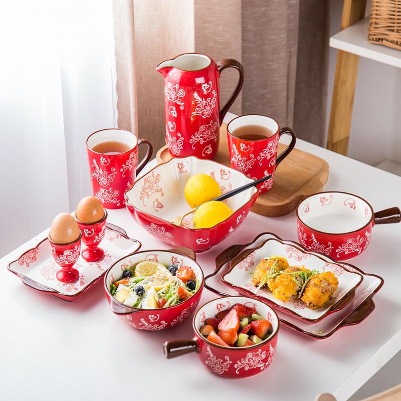 陶瓷餐具中式碗碟套装2人组合家用结婚礼品情侣送礼西式碗盘杯
