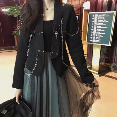 Cloth CHARM european and American heavy metal decoration small coat 20 years new pin decoration short suit coat female