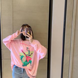 ◆張靜芝韓國東大門 做舊卡通印花珊瑚粉蝙蝠袖輕薄防曬長袖T恤女