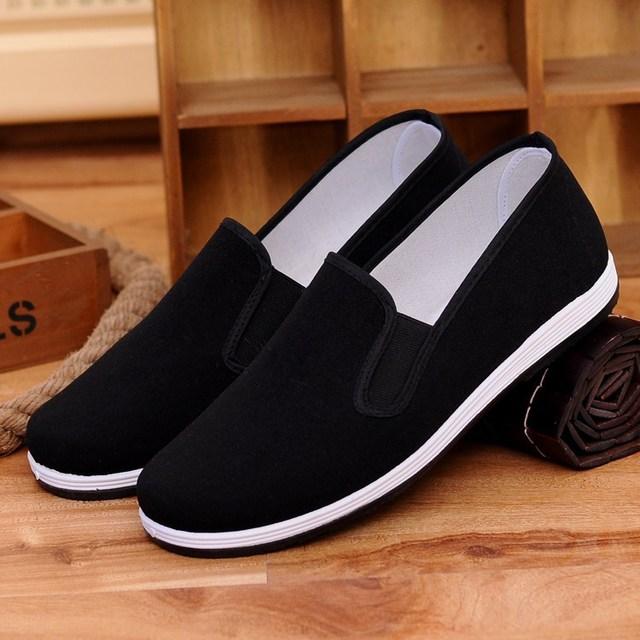 老北京布鞋男士夏季工作一脚蹬千层底帆布夏季透气单鞋黑布鞋男