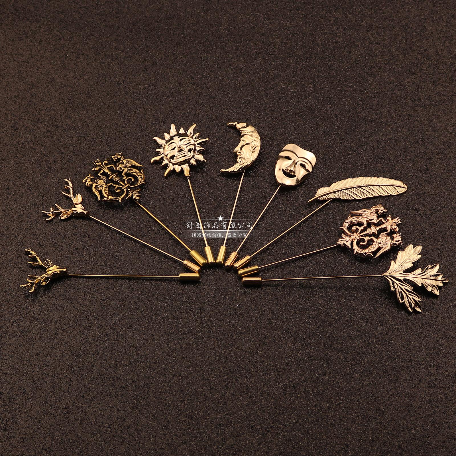 韓版楓葉羽毛鹿角珍珠胸針 男士西裝女士毛衣披肩扣長針別針胸花