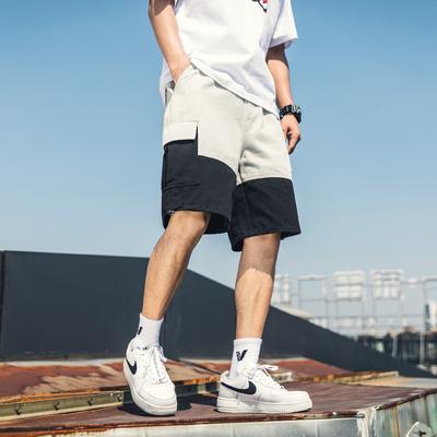 <em>天台</em>风 2019夏季新款日系拼接工装短裤男五分中裤 DK971-P45