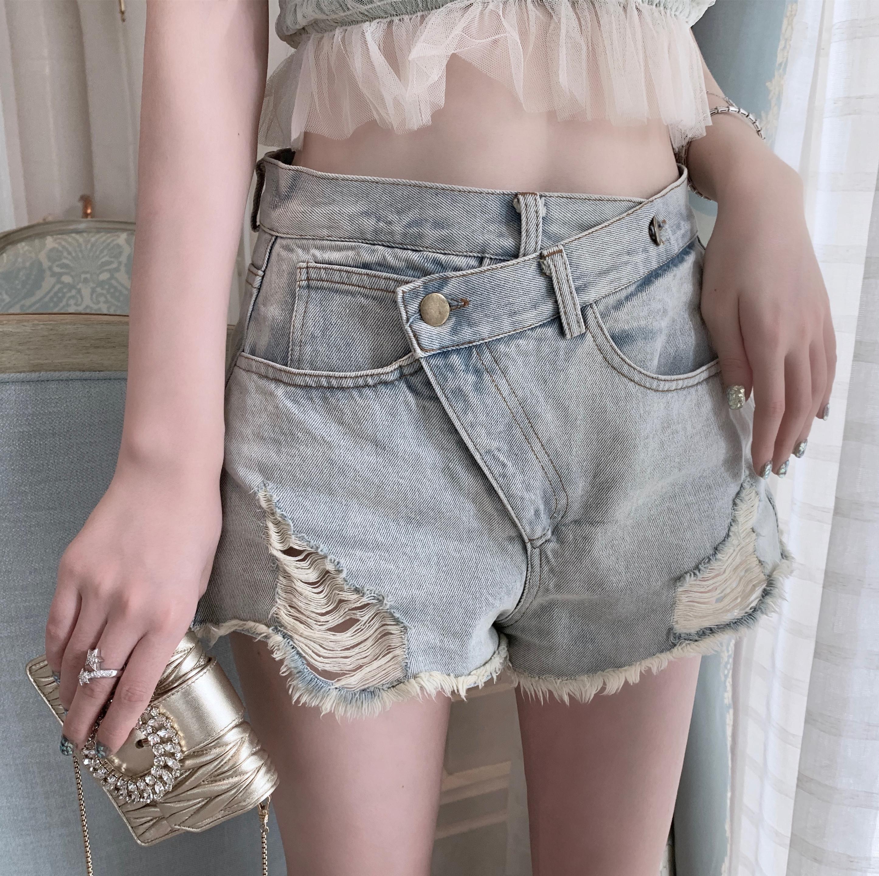 网红牛仔短裤女夏季薄款高腰a字显瘦韩版宽松破洞水洗性感ins热裤
