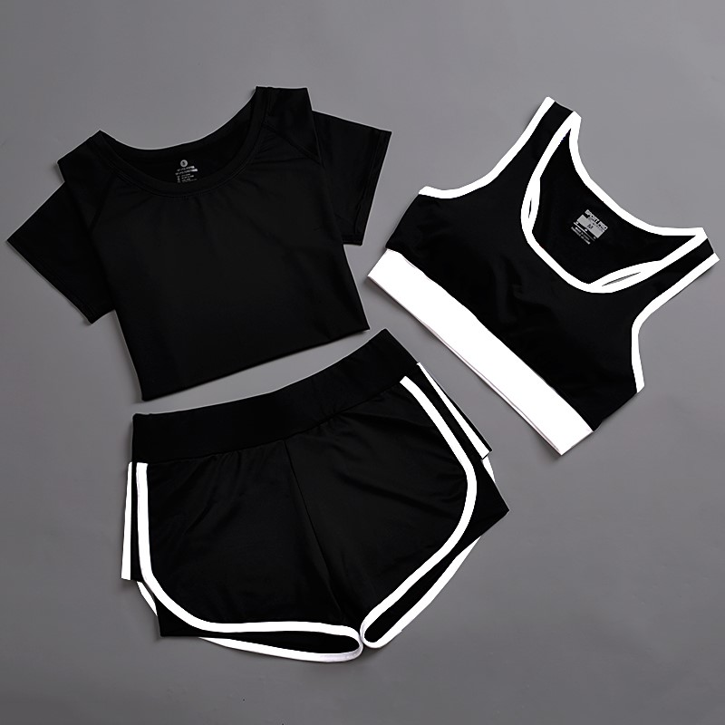 Summer sports suit Female Yoga suit sports three piece running fitness suit quick drying sports shorts shockproof vest