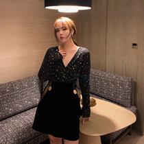 MB大码女装定制 名媛风 a字半身短裙显瘦丝绒半身裙+星星上衣