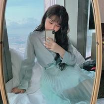 MB大码女装定制 秋季新款名媛气质 非常好看的浅蓝绿色衬衫+半裙
