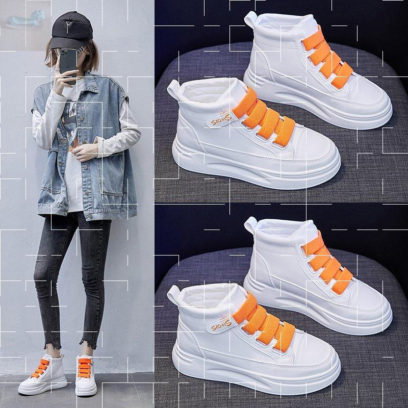 [Perth] Qiantong preferred leather high top small white shoes autumn 2020 breathable Velcro womens shoes