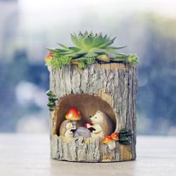 田园创意卡通动物树桩多肉肉植物花盆个性桌面多肉花器装饰小摆件