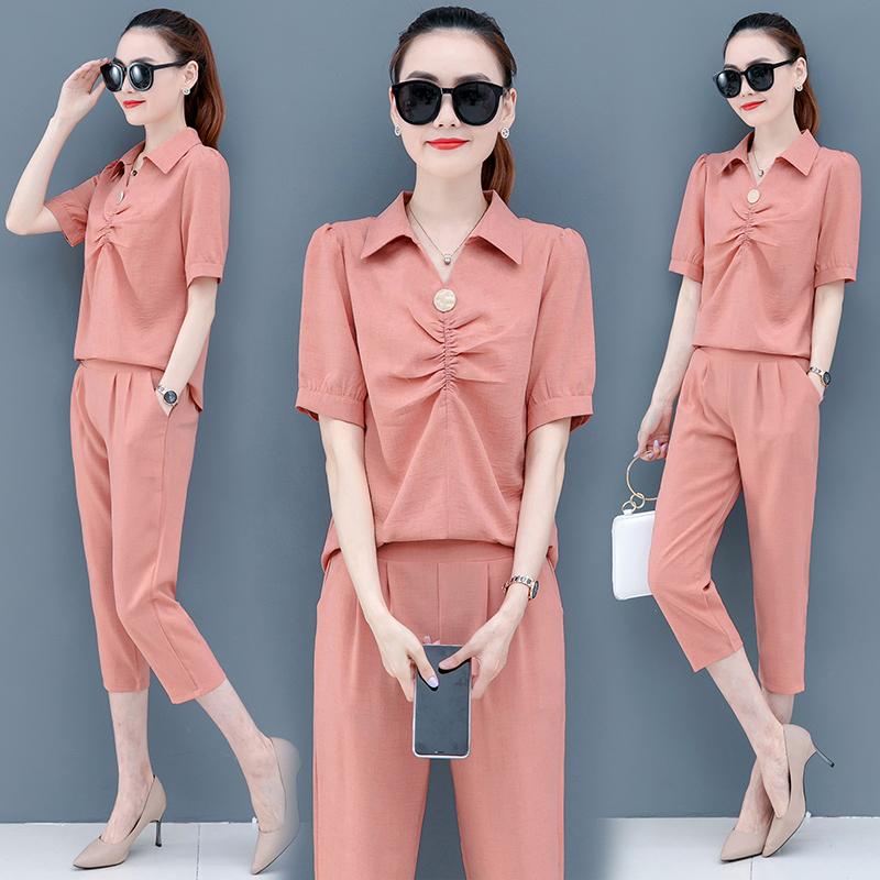 職業套裝女2020年新款夏季顯瘦洋氣質時尚名媛小香風雪紡衫兩件套