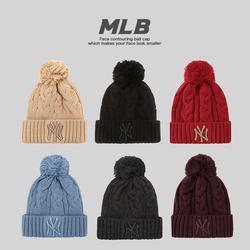 【gp韩国正品】mlb ny毛球毛线帽子