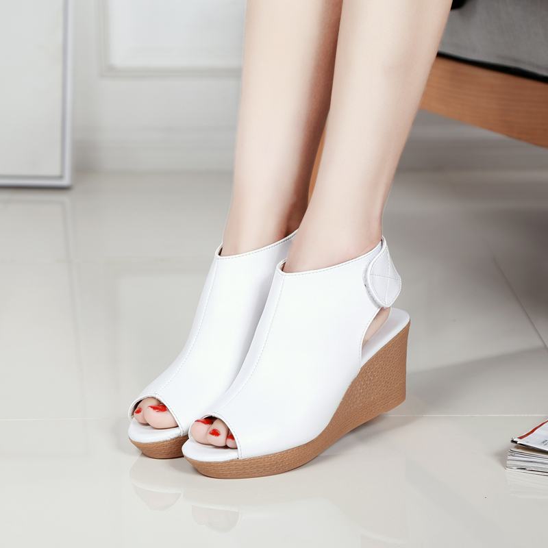 2021 summer leather sandals high heeled womens shoes slope heeled shoes waterproof platform Velcro thick soled shoes star carving fish mouth sandals