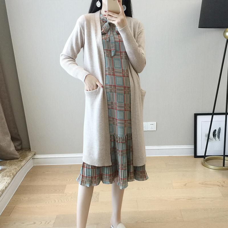 韩版2021秋冬宽松孕妇裙