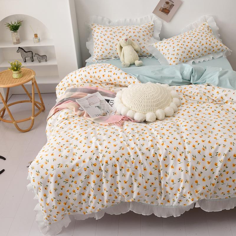 小清新碎花四季棉四件套蕾丝花边纯色柔软棉床单ins风少女心床品