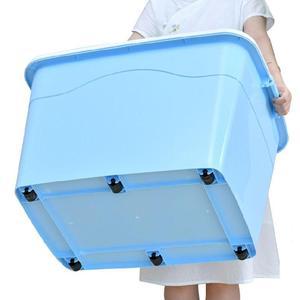 280L特大号收纳箱塑料棉被子衣服储物箱玩具收纳55盒加厚滑轮整