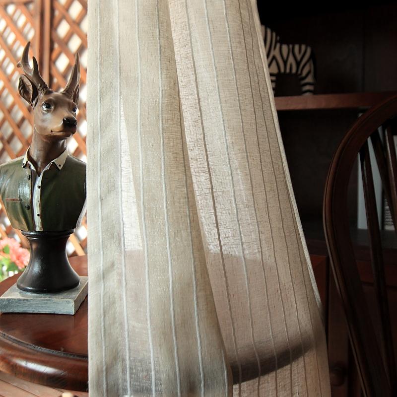 北欧风格麻沙窗帘窗纱 现代简约美式棉麻纱帘 成品阳台纱遮光沙帘