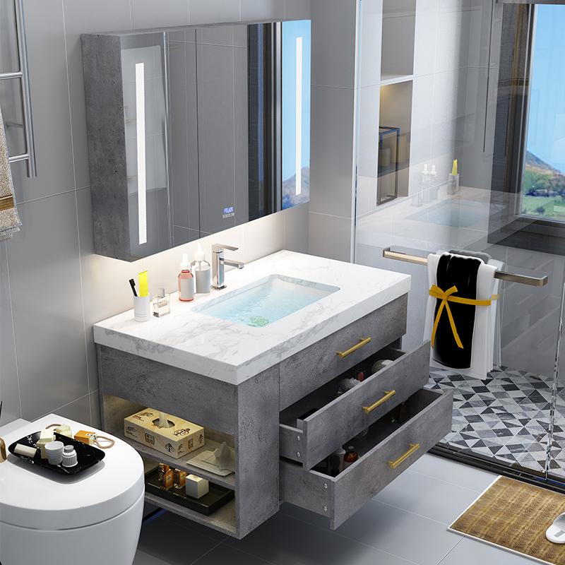 岩板洗手盆洗脸盆柜组合现代轻奢浴室柜大理石台面卫生间洗漱台