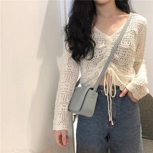 韩版宽松针织衫短款毛衣女长袖网洞春季上衣抽绳镂空V领罩衫薄款图片